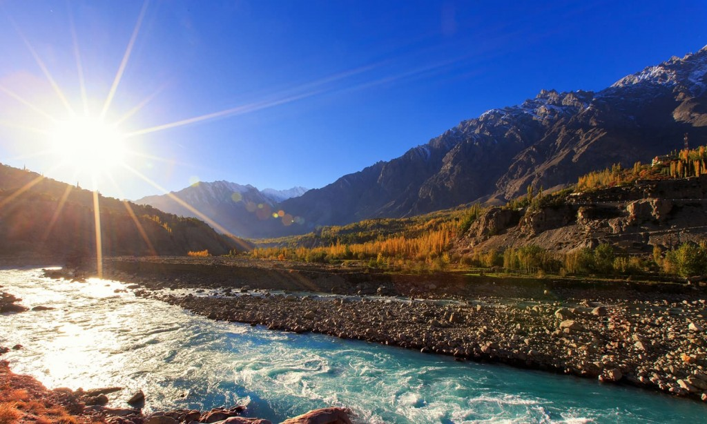 Hunza river irrigating orchards
